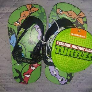 TMNT Reinforced Boys Green/Black Strap Flip Flops